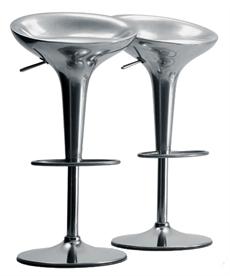 Al Bombo, höjsänkbar, sitthöjd 50 74 cm, rostfritt stål, polerad aluminium