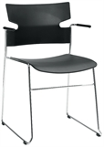 MATERIA_stack armchair sled base black chrome frontLR