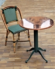 NF-072-57-0D w round Coper top and Green Beige Bistro ChairLR